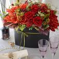 秋アレンジメント〜赤いバラに魅せられての画像1