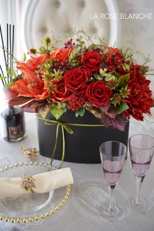 秋アレンジメント〜赤いバラに魅せられて