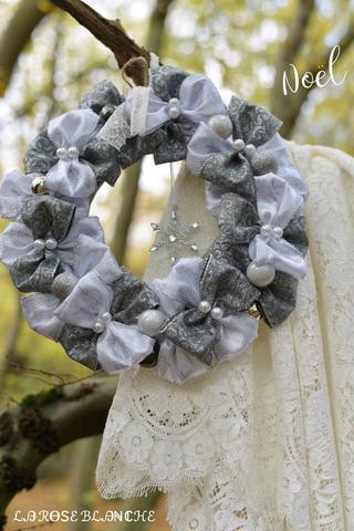 リボンリース White Gray Elegant