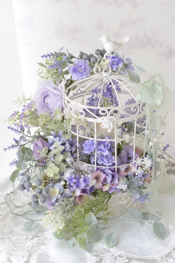 Romantic Bird Cage *artificial flower arrangement  ロマンティック な鳥かご